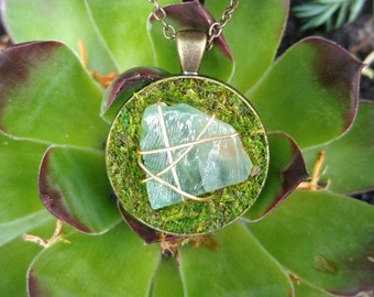 green calcite pendant necklace moss necklace moss jewelry moss terrarium necklace healing crystals stone necklace wire wrap crystal jewelry