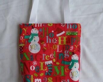 Christmas Fabric Gift Bag/ Secret Santa Bag/ Holiday Goody Bag- Holiday Sayings on Pink