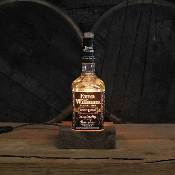 Evan Williams Bourbon Bottle Lamp - Features Reclaimed Wood Base, Edison Bulb, Twisted Cloth Wire, In line Switch, And Plug, Upcycled Light