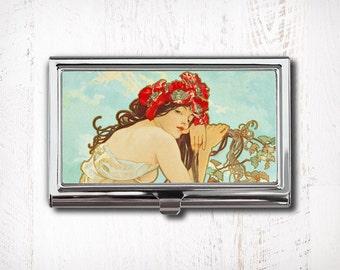Business Card Case, Alphonse Mucha Illustration, Business Card Holder, Summer, Woman Art, Card Case, Card Holder, Alfons Mucha, Art Nouveau