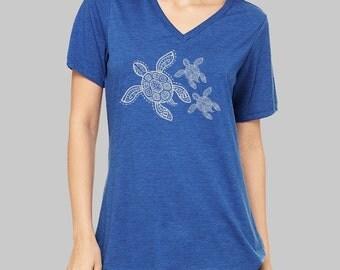Sea Turtle, V Neck T Shirt, Turtle Shirt, v neck shirt, women, v neck tshirt, womens, graphic tees, v neck, screen print shirt