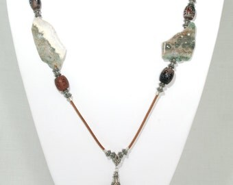 BN099- Large Ocean Jasper and fancy Agate necklace