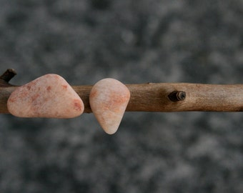 Mismatch Stud Earrings - Driftwood Earring Holder - Salmon Pink Pebble - Baltic Sea Gift