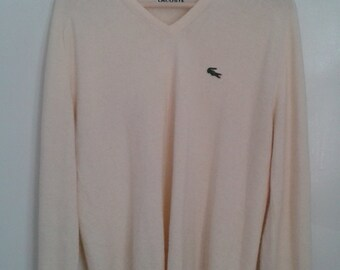 Vintage 1970's 1980's Izod Lacoste Soft Cream V-neck Sweater Embroidered Logo Crocodile Sz Large Tennis Preppy WASP