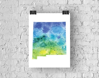 New Mexico Watercolor Map - Giclée Print of Hand Painted Original Art - 5 Colors to Choose From