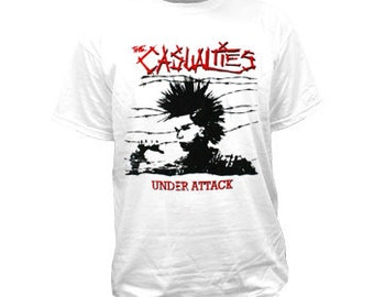 The Casualties Under Attack White T-Shirt Men's Large