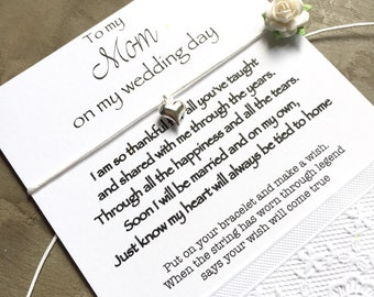 Mother of the bride gift, Mother of the Bride, heart bracelet, mother daughter Wedding card, Mother of the bride bracelet, wish bracelet,B12