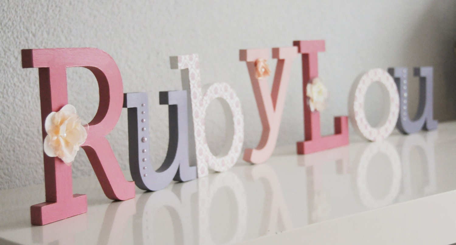 Standing wooden letter name hand painted and decorated wooden for Standing wood letters to paint