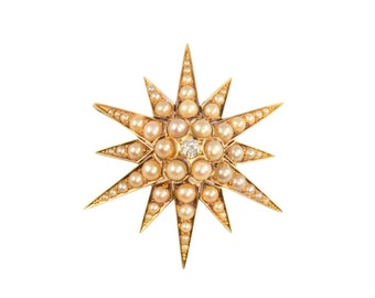 Victorian pearl and diamond star pendant / brooch circa 1890.
