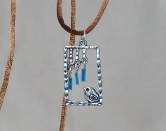 Little Bird in Frame Pendant (Silver, with Blue Beads) - Great Easter Gift, Gift for Her, Spring Gift!