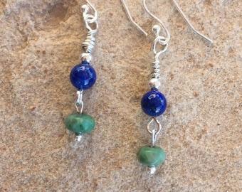 Blue and green drop earrings, lapis earrings, jade earrings, sterling silver earrings, dangle earrings, sundance style earrings