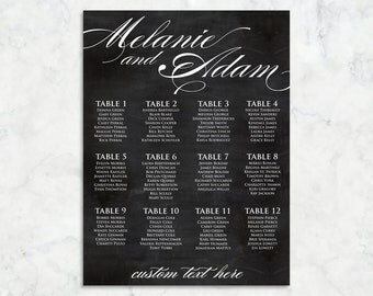 Rustic Cursive Chalkboard Style Printable Wedding Seating Chart Sign // Custom Sizes,Color Available