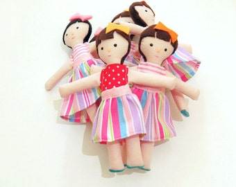 Tinny doll - Little Doll - Girl Doll - Little rag doll - Therapy doll - Gift party - Fabric dolls -  Unique doll - Gift party