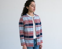 Button Down Cardigan / Striped Red White and Blue Sweater / Vintage Women's Clothing