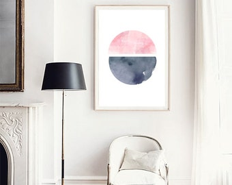 Watercolor painting, Abstract watercolor, Circle print, Ink painting, Abstract art, Watercolor print, Pink art, Pink watercolor Geometric