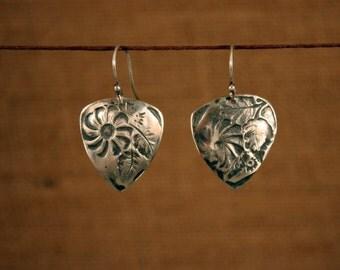 Embossed Sterling Silver Pick Earrings