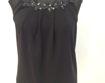 Black top,Sleeveless top,Women's top,Flowers top,Summer women's top,Women's sleeveless blouse, Lace Top,Loose fit women's top,Women tanks
