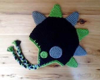 Dinosaur Hat, Boys Winter Hat, Crocheted Dino Hat, Baby Animal Hat, Boy Hat, Crocheted Baby Hat, Children's Hat, Custom Crocheted Hat