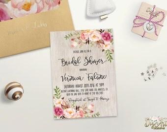 Floral Bridal Shower Invitation Printable or Printed Rustic Bridal Shower Invite Bohemian Bridal Shower Bridal Shower Boho Chic Invite