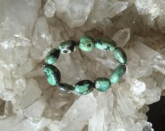 Signed Designer Turquoise Stone and Silver Southwestern Bracelet