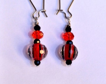 Red and Black Stripe Drop Earrings