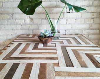 Reclaimed Wood Desk, Wood Dining Table, Geometric Pattern, Two Tone Wood Pattern, 6' x 2.5'