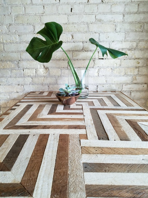 Reclaimed Wood Desk, Wood Dining Table, Geometric Pattern, Two Tone Wood Pattern, 6' x 2.5'