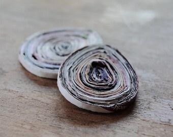 paper beads, recycled paper beads, teardrop beads, flat beads, recycled beads, jewelry making, recycled paper teardrop shape beads 45x35mm