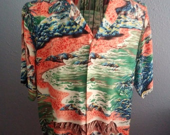 Vintage aloha shirt made by Lauhala.  It's medium sized and really tells a story.
