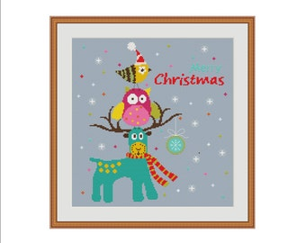 Christmas cross stitch, Christmas cross stitch pattern, Merry christmas cross stitch, Cross-stitch pattern, Modern cross stitch, Xstitch PDF