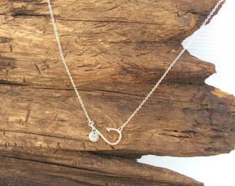 Fish Hook Necklace with Initial, Fishing Necklace, Christian Jewelry, Fishing Hook Necklace, Fishing Jewelry, Sideways Fish Hook