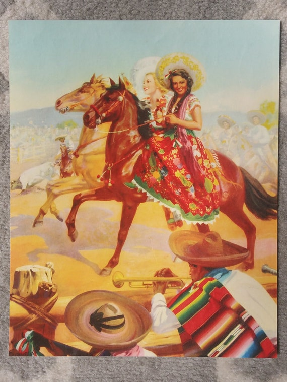 Mexican Calendar Girl Art : Vintage mexican calendar art by eduardo cataño rodeo queens