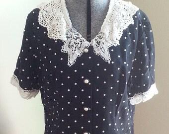 80s Black White Polka Dot Lace Crochet Acetate Rayon Blouse Top