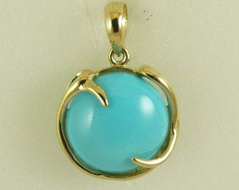Reconstituted Round 12 mm Turquoise Pendant, 14k Yellow Gold