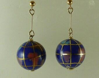 Lapis Globe Earring 14k Yellow Gold