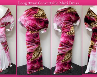 3 Way  Long Convertible Maxi Dress. Slinky, Travel, Cruise, Small, Medium, Large.