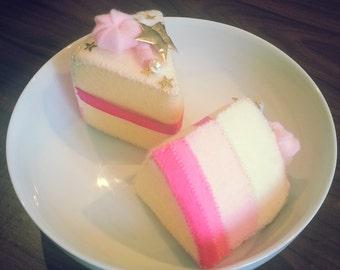 1 slice of pink princess star cake. felt play food. handmade