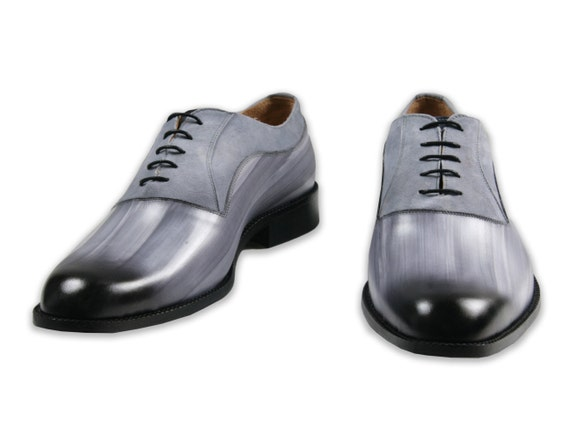 Leather man shoes, wood effect, grey, suede, Oxford, hand painted (made in Italy)
