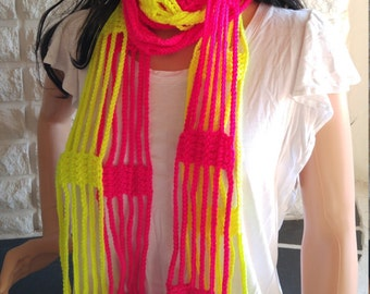 CLEARANCE lightweight scarf with fringe, women's lace scarf, gifts for her, pink and yellow scarf, accessories, spring and summer fashion