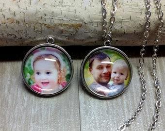 Custom Double Sided Picture Necklace - Keychain - Picture Necklace - Personalized Necklace - Photo Jewelry - Gift - Keepsake - Round Pendant