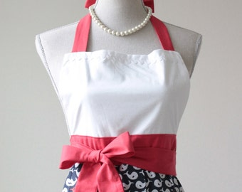 Womens Vintage Retro Full Apron - Nautical Red White and Blue Whales