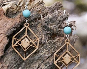 Wood WOODEARZ polygon earrings