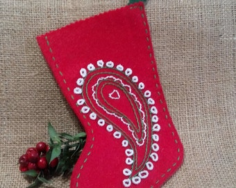 Christmas stocking red embroidery