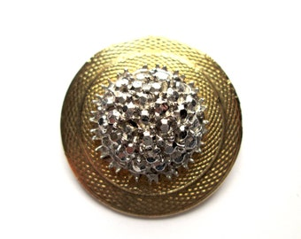 Vintage Round Dome Disk Brooch Pin Two Tone Textured Gold & Silver Tone Faux Marcasite