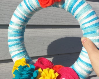 Turquoise Blue Spring Yarn Wreath with Pink, Yellow, Orange and Blue Felt Flowers, Welcome Summer Wreath, Nursery Wreath, Wall Gallery Decor