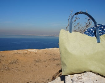 Handmade Purse/Tote Bag - Green Suede with Cute Blue and White Print Lining