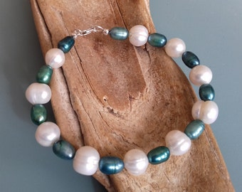 Pearl bracelet teal & white cultured freshwater pearls in 925 sterling silver, birthday gift