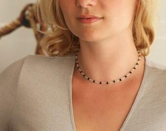 Black bead choker, black and silver choker, short beaded necklace, small bead choker, black choker, delicate choker, small bead necklace