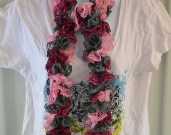 Ballet Ruffle Scarf. Mix of Purple, Pink, and Grey Scarf. Handmade Crochet Ladies Fashion Winter Scarf. Crocheted Long Scarf.