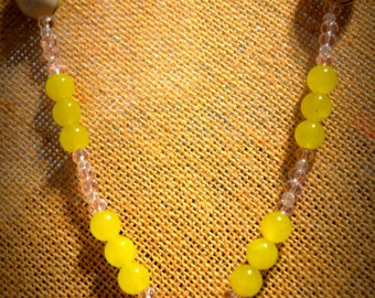 Lemon Jade Owl necklace